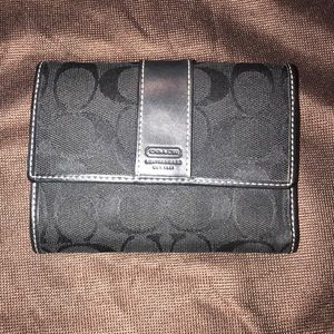 Coach Black Fabric and Leather Foldover Wallet